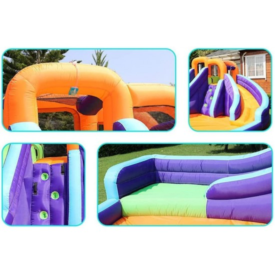Children's Bounce House, Outdoor Inflatable Swimming Pool, Double Water Slide, Inflatable Trampoline House, Inflatable Castle, Water Slide with Swimming Pool and Children's Water Gun