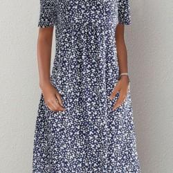Casual Floral Round Neckline Midi A-line Dress