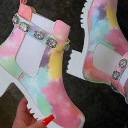 Women's Elastic Band Closed Toe Chunky Heel Boots