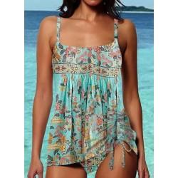 Polyester Floral Tankinis Swimwear