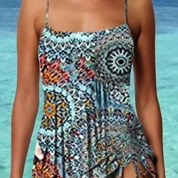 Polyester Color Block Tankinis Swimwear