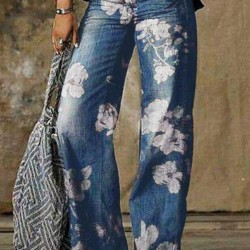 Casual Loose Pattern Pockets Mid Waist Polyester Jeans Pants