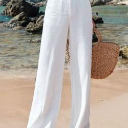 Casual Loose Buttons High Waist Linen Pants